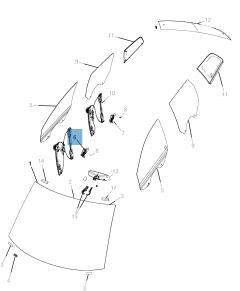 Raamopener compleet met 6 voetjes voor Fiat Freemont