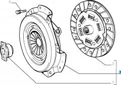 Set koppeling (koppelingsplaat, drukplaat en druklager) voor Fiat en Fiat Professional