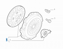 Set koppeling (koppelingsplaat, drukplaat en druklager) voor Fiat Professional Fiorino