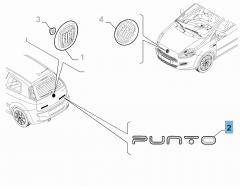 Code model Punto achterzijde voor Fiat