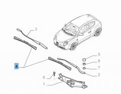 Kit 2 ruitenwissers voor voorruit voor Alfa Romeo Mito