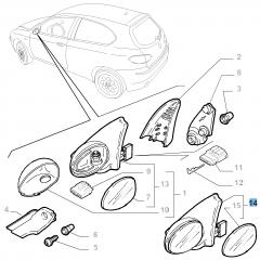 Rechter buitenspiegel voor Alfa Romeo 147