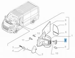 Zijdelingse richtingaanwijzer op linkerspiegel voor Fiat en Fiat Professional