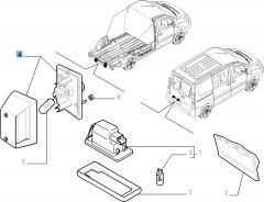 Rechter kentekenplaatverlichting voor Fiat Professional Scudo